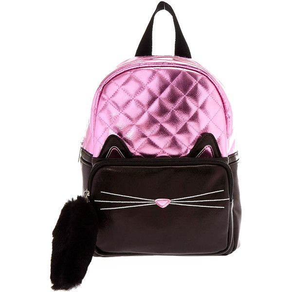 Black and Pink Metallic Cat Mini Backpack (€15) ❤ liked on Polyvore featuring bags, backpacks, daypack bag, pink and black backpack, knapsack bag, cat backpack and cat print bag
