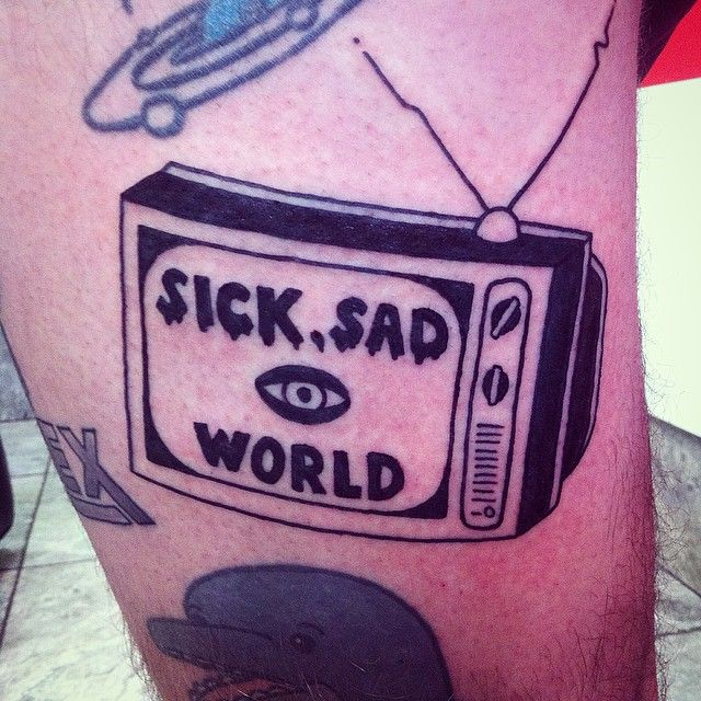 Replace with Sick sad little world in the style of Talk Show On Mute TV.
