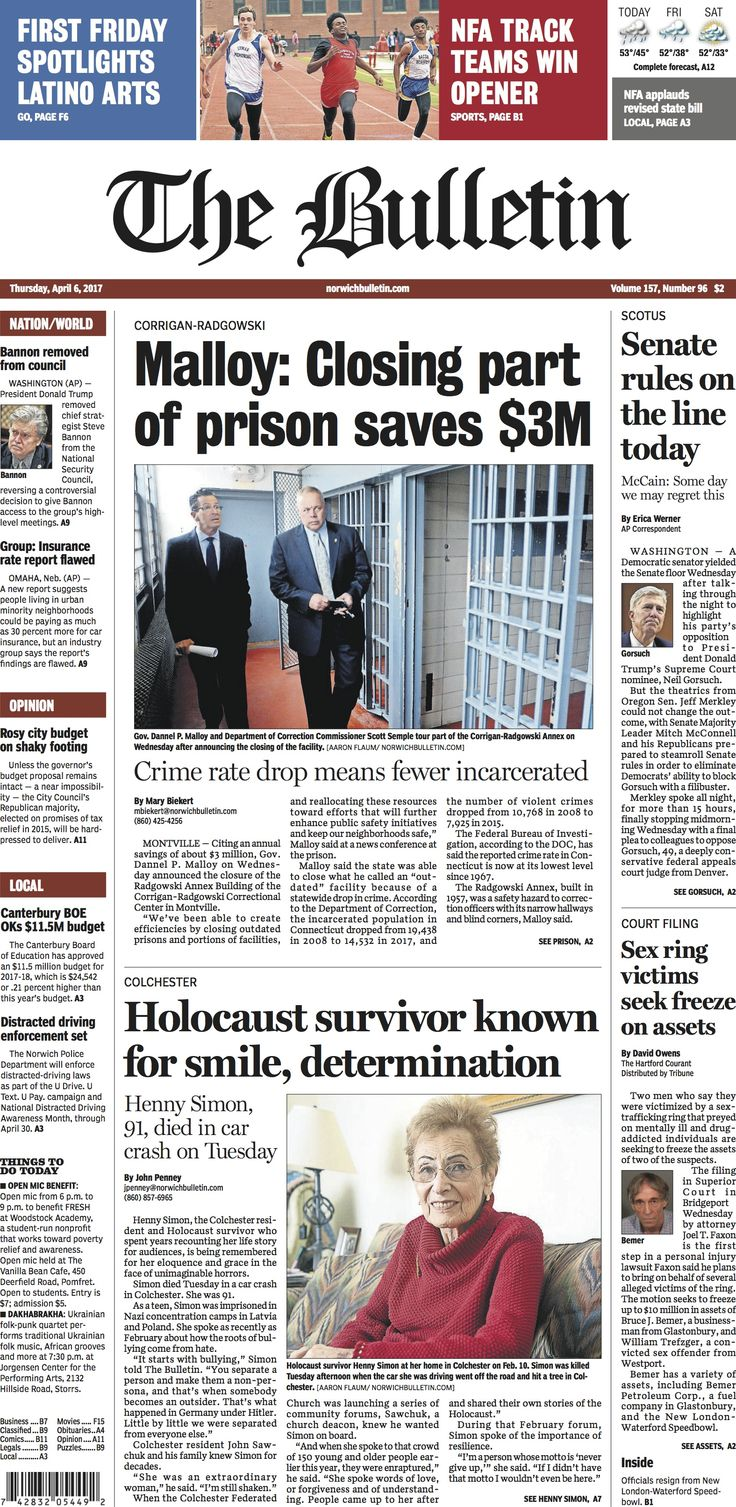 Thursday, April 6, 2017 - Subscribe to The Bulletin today: http://www.norwichbulletin.com #ctnews #newlondoncounty #windhamcounty