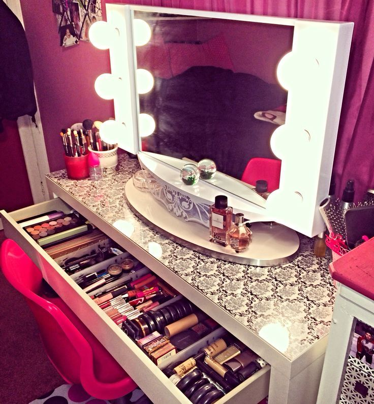 Vanity Table With Makeup. Foundation Power Makeup Brushes And Perfume.