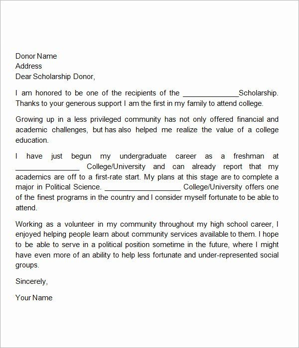 Scholarship Thank You Letter Examples Inspirational Free 13 Sample