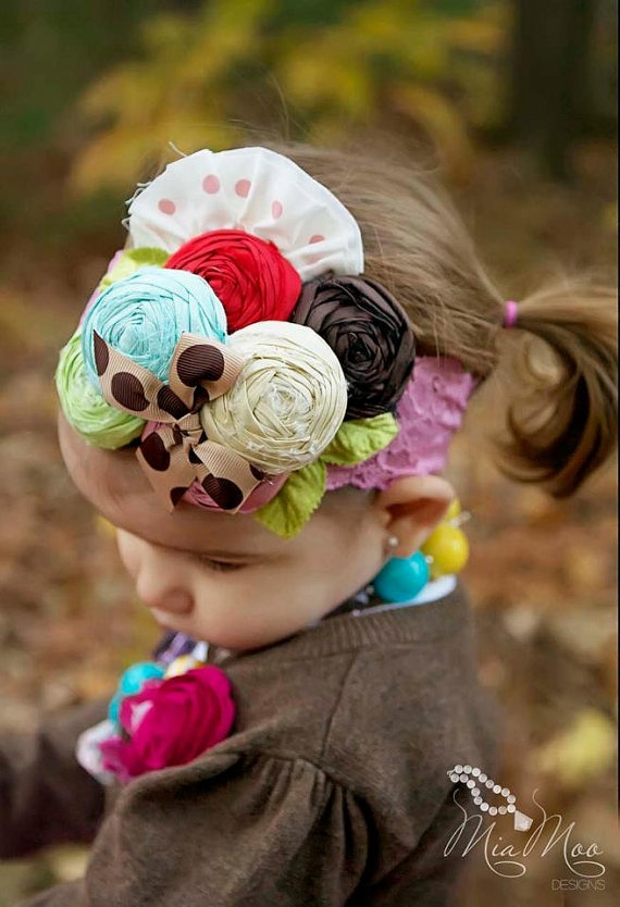 LOVE LOVE LOVE This    Hayden's Favorite Headband  Colorful Silk rose by rubyblueinc, $38.00