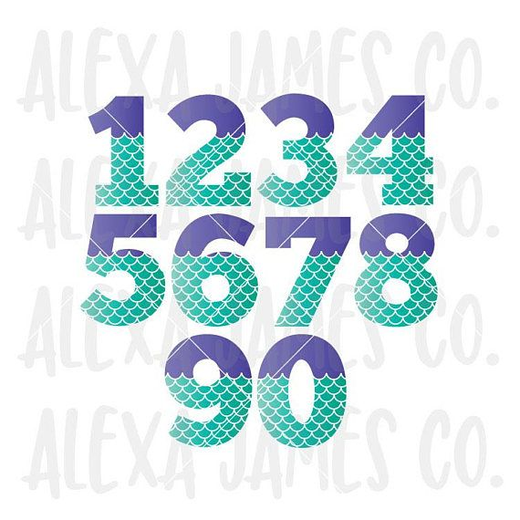 Mermaid Numbers svg Numbers 0 9 svg Mermaid Scales svg 1st