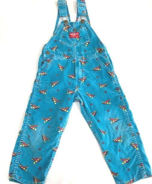 c2d23f527 Vintage OshKosh B'Gosh Boys Overalls Corduroy Blue Airplanes Vestbak Size  4T USA #OshKoshBgosh #Everyday