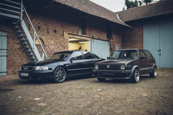 [Four Door Friday] My Audi A8 D2 4.2 next to my tiny VW Golf Mk2 #Audi #cars #car #quattro