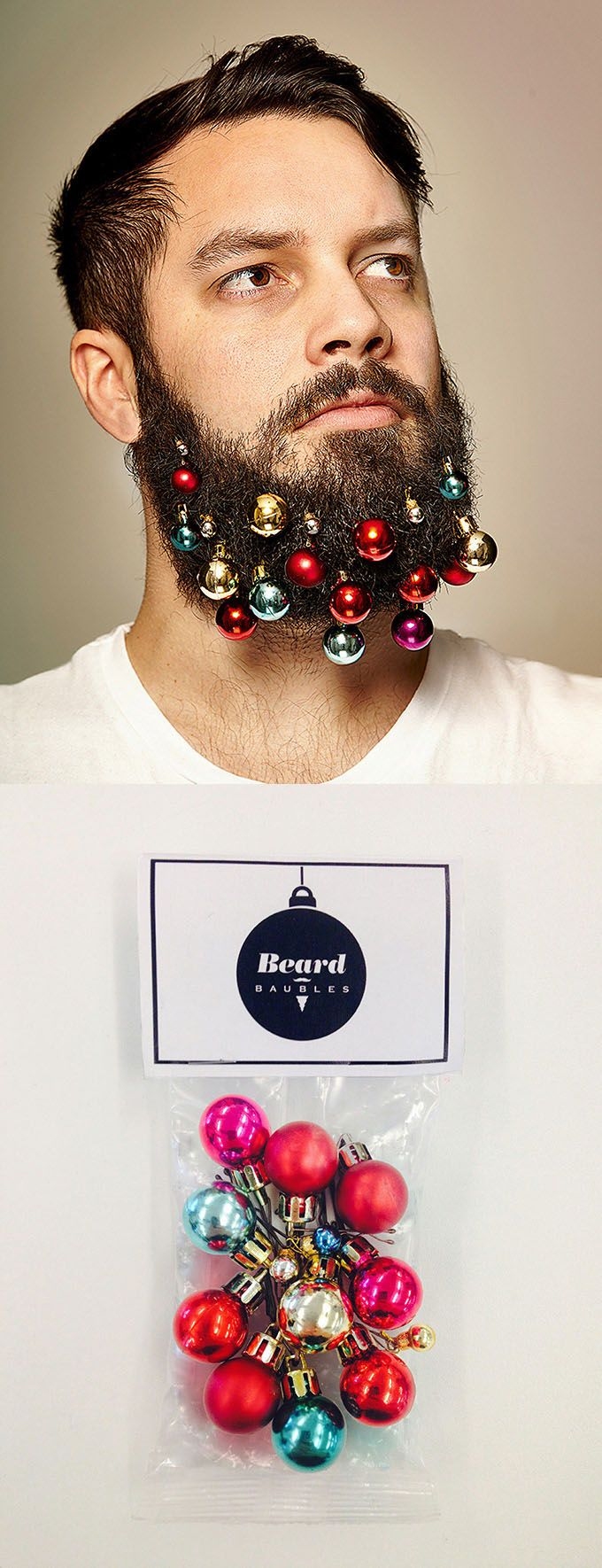 Beard Baubles agency Christmas card promo (also on sale $10 for 12 baubles)  | Creative:  Mike Kennedy and Pauline Ashford at ad agency Grey London | http://beardbaubles.tictail.com/product/beard-baubles