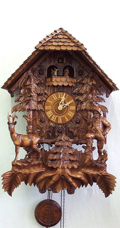 German Black Forest Cuckoo Clock 8 day Hunter's House with music