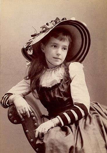 Beautiful hat on girl named Ethel. Cincinnati, Ohio 1891
