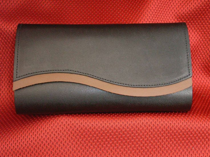 Black Satin Leather with brown taupe trim
