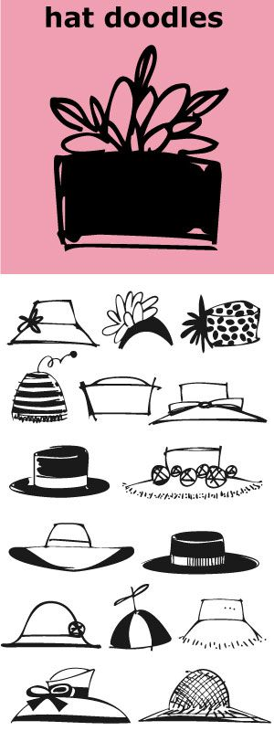 Hat Doodles-- from silly to sophisticated, a collection of 30 women's hats. From a Summer Garden Party to the Kentucky Derby there is a hat for all occasions. Also take a peek at Diva Doodles and Diva Doodles Too for more women's fashions in the same casual style.