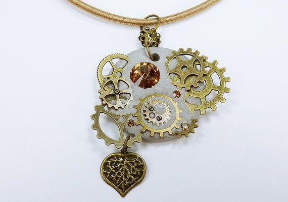 Halskette Glamor Steampunk mit Herz in von ArtJewelryFun auf Etsy