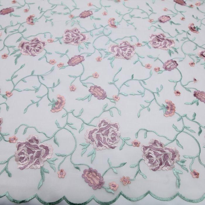 Tecido tule bordado nude flores rosa sombra - Maximus Tecidos   Loja Online