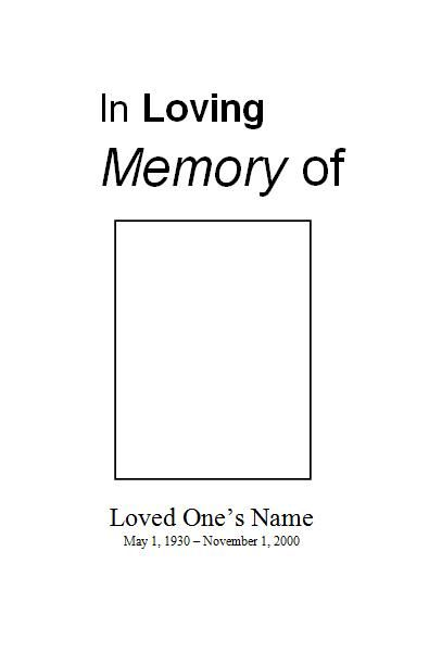 Free Funeral Program Template For Microsoft Word. Free Printable Obituary  Program Template For Download.  Free Printable Obituary Program Template