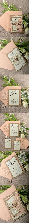 Laser cut Peach & Eco Wedding Invitation -Lace & Birch Bark #weddingideas