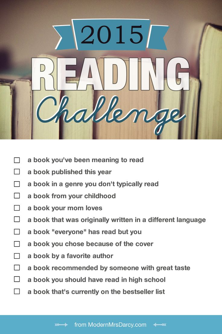 You can make great strides in your reading if you break it into bite-size pieces. Here's the challenge: read 12 books in 12 categories in 2015. Mark each pin with the category it fits in for YOU.