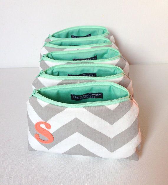 Set of Five Coral & Mint Monogram Bridesmaid bags by SandraSmithHandmade.