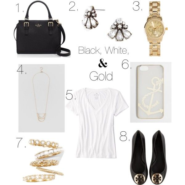 Black, White, and Gold by scnrousch on Polyvore featuring polyvore fashion style American Eagle Outfitters Tory Burch Kate Spade Ann Taylor H&M BaubleBar J.Crew