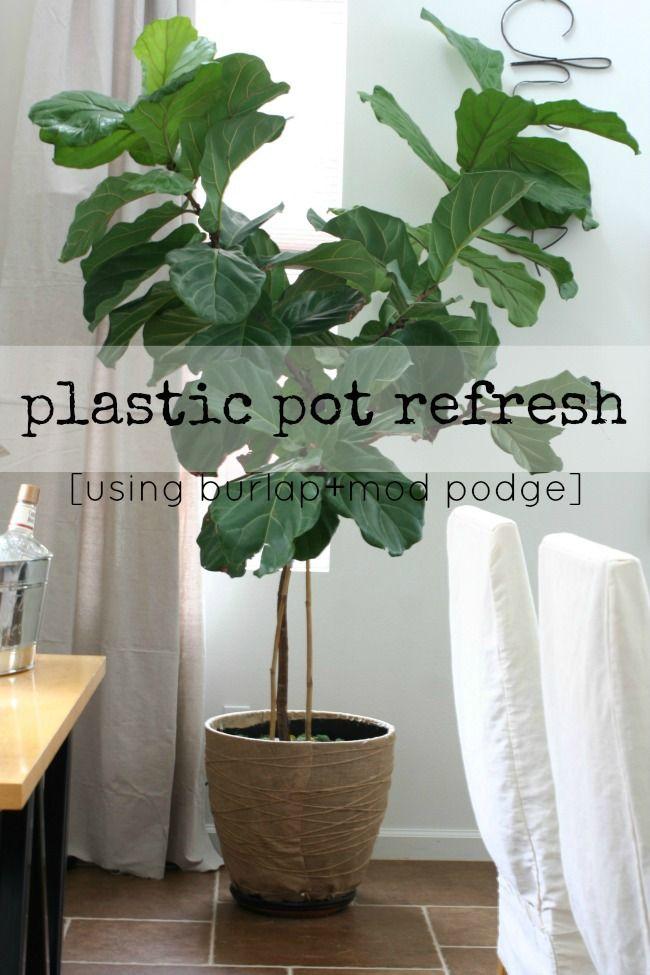 A Plastic Pot Makeover Using Burlap +mod Podge