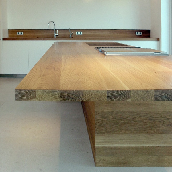 Furniture and interior design in kitchen. Wooden table. Kitchen wall part of wood. #Plywood #Troja