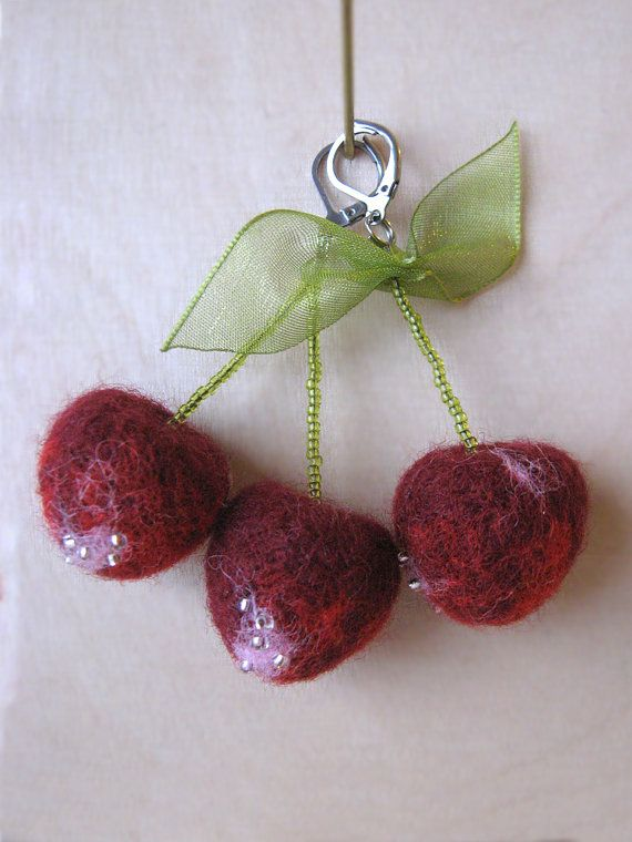 CHERRY drop earrings with needle felted decor and stainless steel levers
