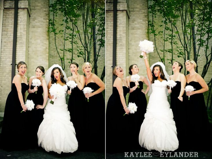 Black bridesmaids dresses w/ white bouquets | St. James Cathedral Seattle | Kaylee Eylander Photography