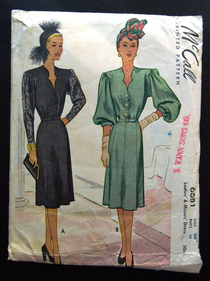 McCall 6681 Cocktail Dress 40s Sz20/38/41 The bodice with scallop V-neckline & button front closing is attached to skirt at waistline.Three sleeve option either a cape sleeve, three quarter or long sleeve with cuff.A slightly flared skirt may be worn with self or purchased belt. c/c used sld 9.5+2.45 9bds 5/11/16