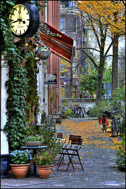 Amsterdam, The Netherlands, Trips to take, The Netherlands are beautiful! Little shop, makes me think of a coffee shop on an overcast fall day. Ahhh nostalgia...