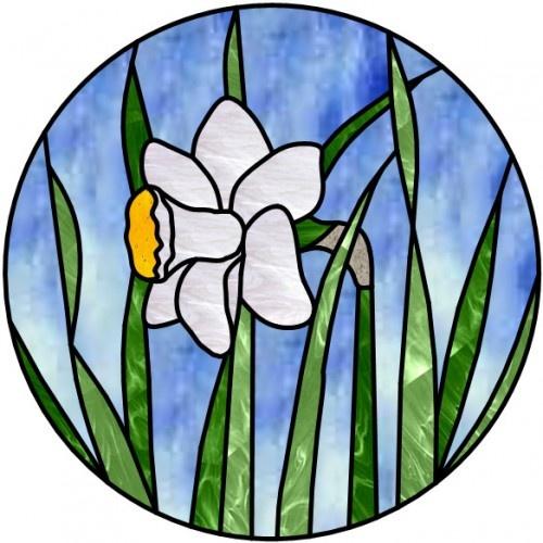 Stained Glass Daffodil - Round Suncatcher