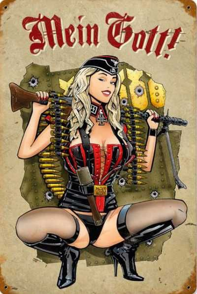 military pinups | Biker Crossroads Gunner Girl Vintage Pinup Military Sign