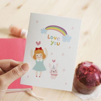 러블리소녀와토끼카드(M) C20040 - 도아, 디자인문구, 편지/카드, 카드, 고백카드