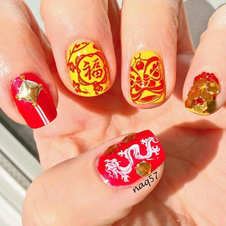 43 best chinese new year nail art designs by nded images on ...