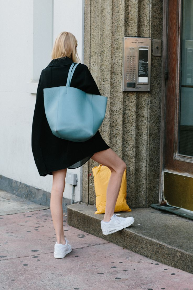l'il bit sporty with a fab tote. NYC.