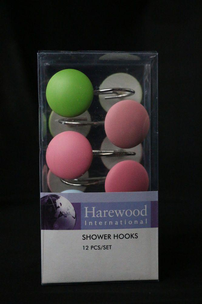 Bathroom Shower Hooks Curtain Hanger Rings Hook Oval Multi-coloured 12 pcs Pack #HarewoodInternational