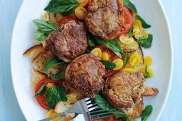 Parmesan-crusted lamb chops with tomato salad