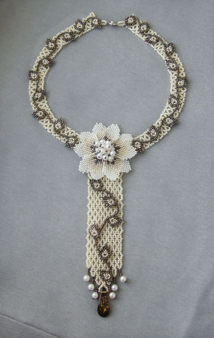 SIMPLE EMBELLISHED NETTED NECKLACE !! Mini tie | biser.info - all about beads and beaded works
