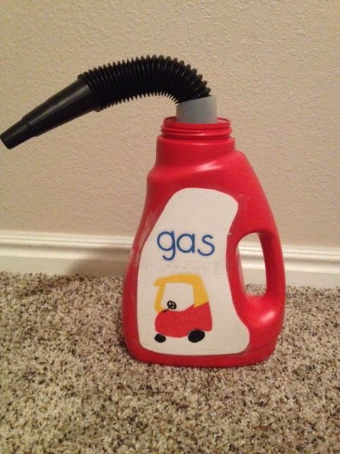 cozy coupe gas can.  Because what mom doesn't own one of those cars! ;)
