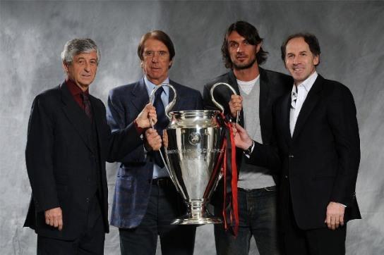 Rivera-Cesare Maldini-Paolo Maldini-Baresi 4 Grandi Capitani