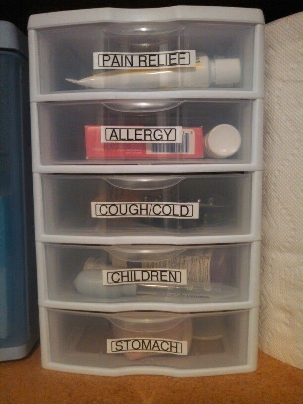 My newly organized medicine using a Sterilite 5-drawer mini storage system.  I take Pinterest very literally.  Just this week I have replicated/modified several pins!