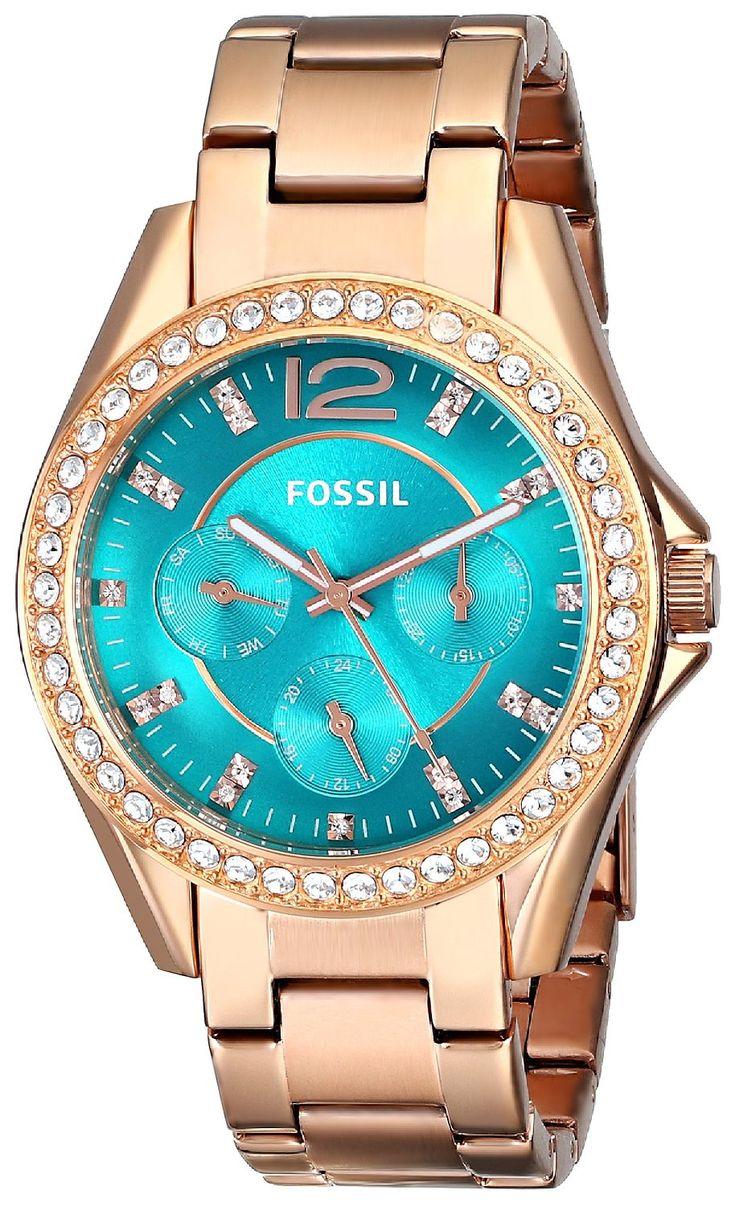 women watches: gold women's watch Fossil Women's ES3385 Riley Analog Display Analog Quartz Rose Gold Watch