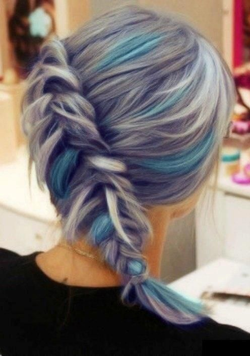 Grey/silver blue streaked Hair. Colorful braid. | Hair ...