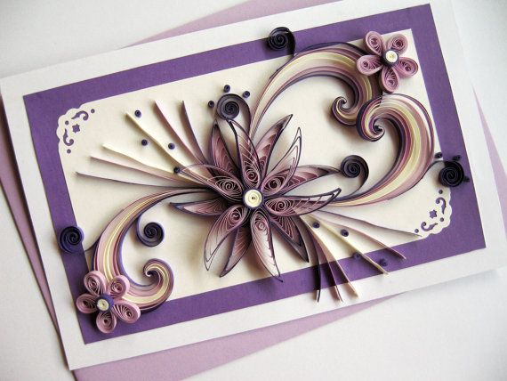 Mother's Day Card - Mom Birthday Card - Paper Handmade Greeting Card - Valentine's Day - Purple Quilled Heart Flower - XL Size