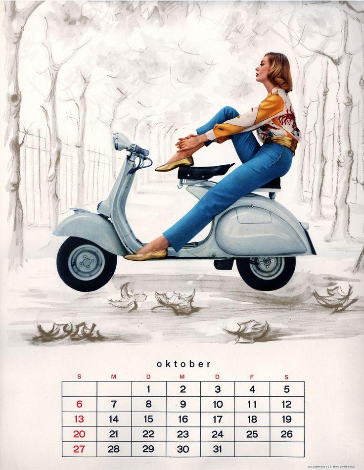 1957 Vespa calendar in german (oct)