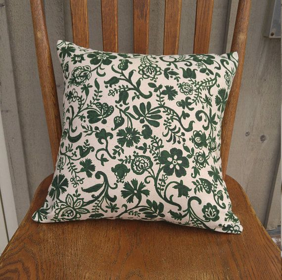Dark Green Floral Pillow Cover