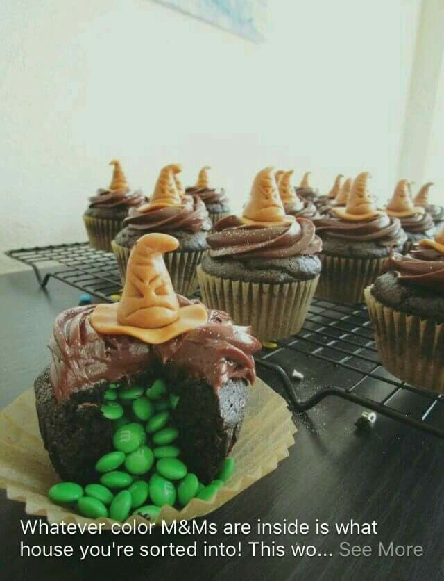 Harry Potter Cupcakes - whatever color of M&Ms are inside is the color of your house