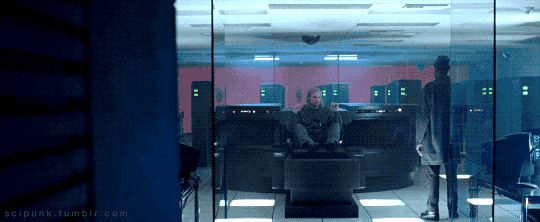 The simulated reality machine is standing in front of the server room. The Thirteenth Floor (1999) -   Cyberpunk Movies & Neon Lights