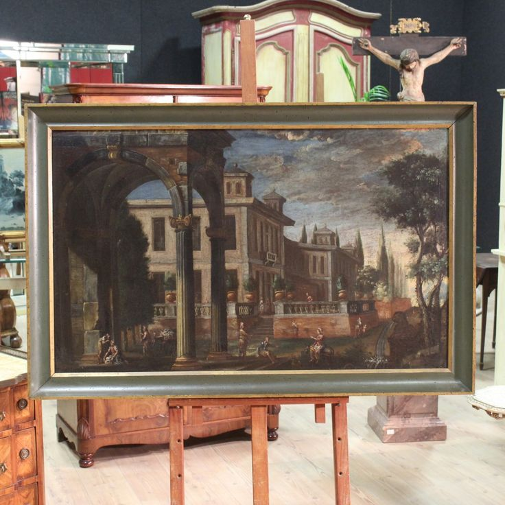 Price: 4200€ Ancient Italian painting of the second half of the eighteenth century. Oil on canvas depicting landscape with elegant architecture and characters. Painting that grows horizontally. Wooden carved, lacquered, golden frame with different signs of aging, to be restored. Painting with particular perspective. Painting backed again which undergone a conservative restoration in the second half of the twentieth century. #antiques #antiquariato Visit our website www.parino.it