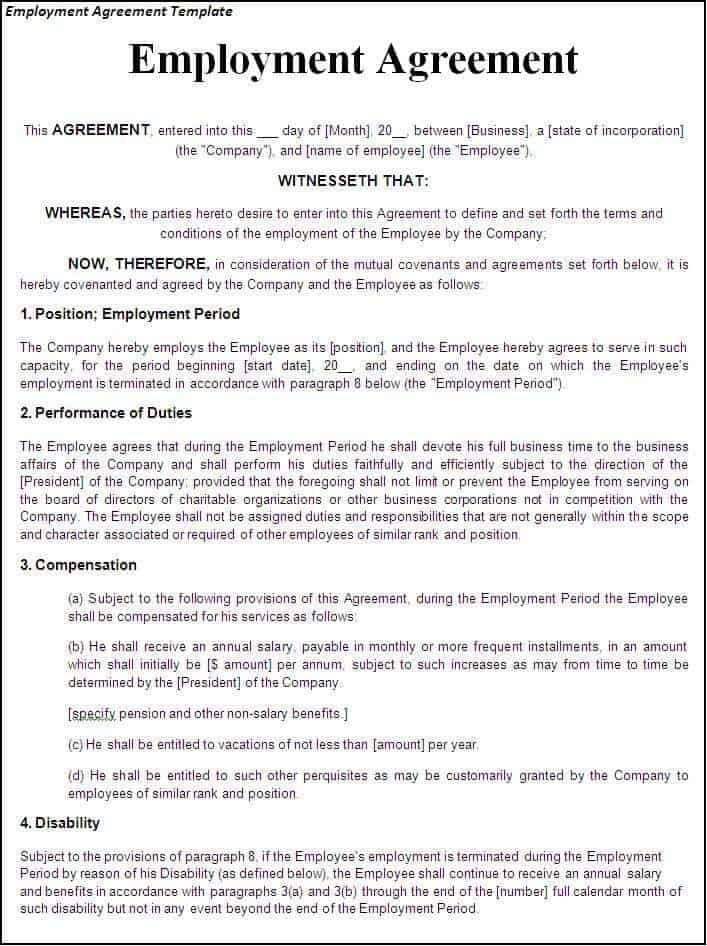 Employment Contract Sample Nanny Contract Template Contract Template Nanny Contract