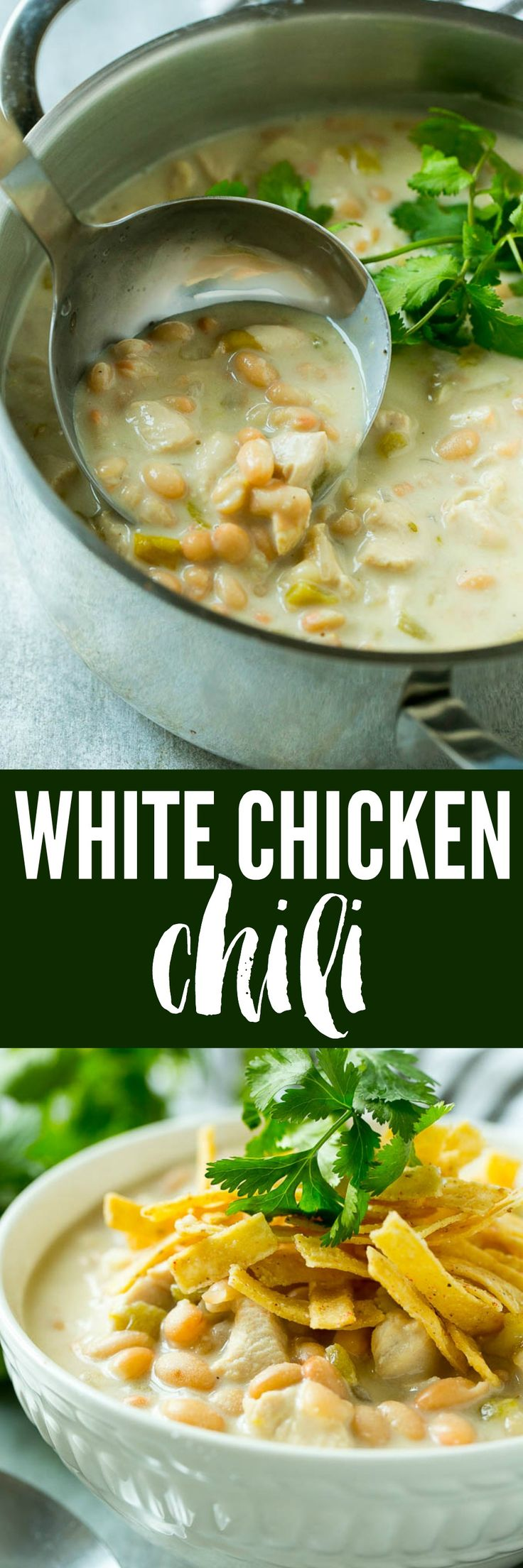 This easy white chicken chili is loaded with beans, chicken and green chiles, all in the most delicious creamy broth. A dinner option that's perfect for a cold day!