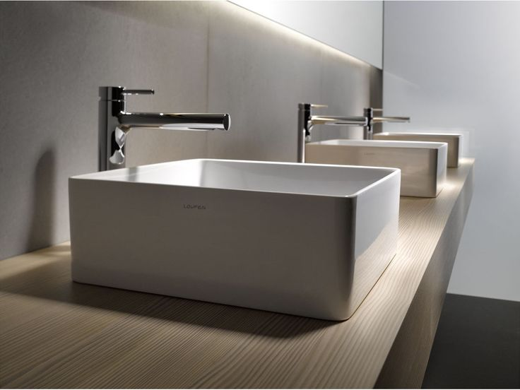 Fascinating Modern Bathroom Sink Idea Featuring Wall Mounted Wooden Brown Modern  Bathroom Vanity Triple White Vessel Sinks And Freestanding L Shape ...