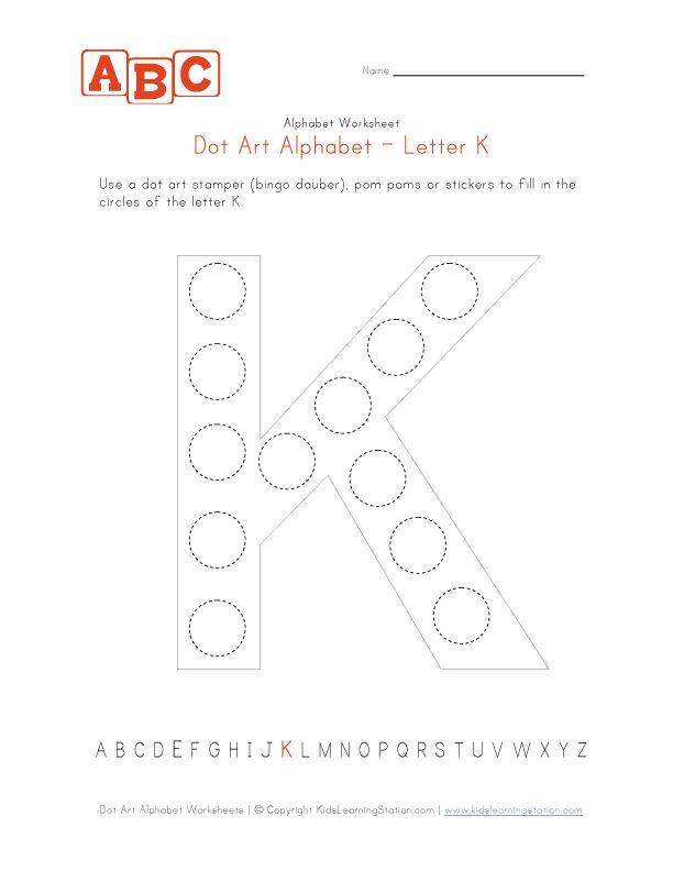 letter k dot art worksheet children 39 s worksheets pinterest dots art and letter k. Black Bedroom Furniture Sets. Home Design Ideas